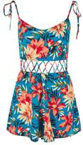 Petite floral crisscross waist playsuit