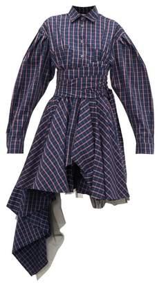 Natasha Zinko Sash-waist Checked Cotton Shirtdress - Womens - Navy Multi