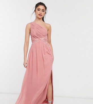 Little Mistress Petite one shoulder maxi with lace insert in rose