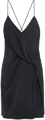 Alice + Olivia Wrap-effect Knotted Crepe Mini Dress