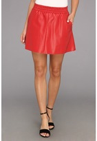 BCBGMAXAZRIA Laika Leather Mini Skirt (Dark Poppy) - Apparel