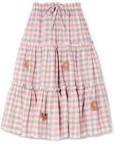 Innika Choo Embroidered Gingham Linen Midi Skirt - Off-white