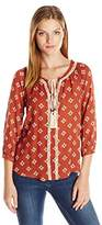 Blu Pepper Women's Long Sleeve Tassle Tie Boho Top