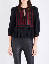 Free People The Wild Life embroidered cotton-blend top