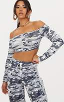 PrettyLittleThing Grey Camo Bardot Crop Top