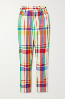 Area Crystal-embellished Checked Wool-blend Straight-leg Pants - Yellow