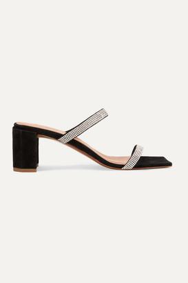 BY FAR Tanya Crystal-embellished Suede Mules - Black