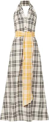 Rosie Assoulin Belted Checked Cotton-voile Halterneck Gown