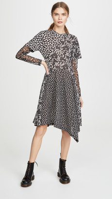 GOEN.J Contrast Floral Print Panel Mesh Dress