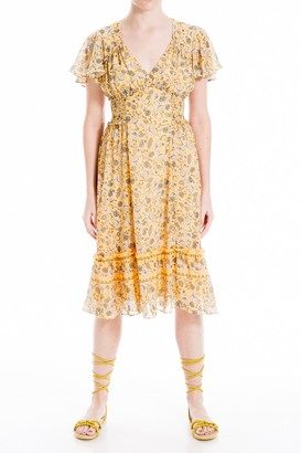 Max Studio Printed Ruffle Short Sleeve Dress