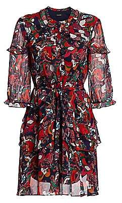 Saloni Women's Tilly Paisley Multicolor Print Silk A-Line Shirtdress - Size 0