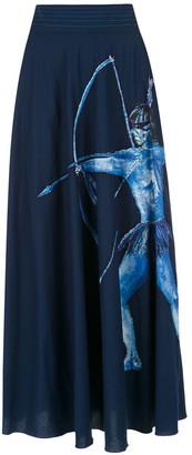 Isolda midi Arara Azul skirt
