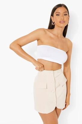 boohoo Button Front Tailored Mini Skirt