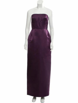 Oscar de la Renta Strapless Evening Dress Purple