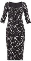 Dolce & Gabbana Boned-bodice Polka Dot-print Crepe Midi Dress - Womens - Black White
