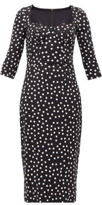 Dolce & Gabbana Boned-bodice Polka-dot Crepe Midi Dress - Womens - Black White