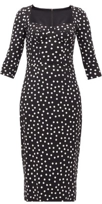 Dolce & Gabbana Boned-bodice Polka Dot-print Crepe Midi Dress - Womens - Black White