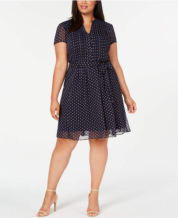 Plus Size Pintucked A Line Dress