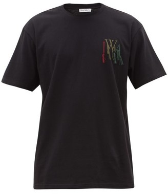 J.W.Anderson Fringed Logo-embroidered Cotton T-shirt - Mens - Black