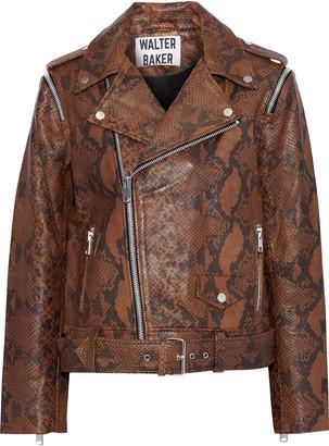 Walter Baker Rucker Zip-detailed Snake-effect Leather Biker Jacket