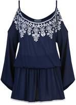 Elizabeth Hurley Embroidered Cold Shoulder Dress