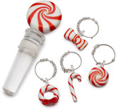 Mikasa Peppermint Twist Wine Stopper and Set of 4 Wine Charms