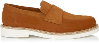 Jimmy Choo BANE Tan Dry Suede Casual Loafer with Stitched Welt Detailing