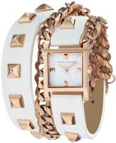 Vince Camuto Women's VC/5088RGWT Rose Gold-Tone Pyramid Studded Double-Wrap White Leather Strap Watch