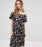 Asos Off Shoulder Midi Dress In Floral