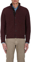 Luciano Barbera MEN'S SUEDE-TRIMMED CASHMERE CARDIGAN