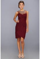 Adrianna Papell Illusion Yolk Necklace Dress (Wine) - Apparel
