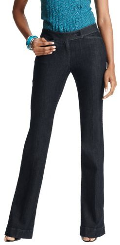 LOFT Besom Pocket Curvy Trouser Leg Jeans in Rinse Wash
