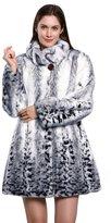 Adelaqueen Women's Print Lush Faux Fur Mink Coat with Lower Hem Size XXL