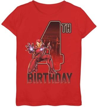 Iron Man Licensed Character Girls 7-16 Marvel 4th Birthday Tee