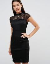 Lipsy High Neck Structured Circle Lace Midi Dress