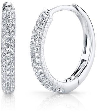 Ron Hami 14K White Gold Pave Diamond 15mm Hoop Earrings - 0.21 ctw