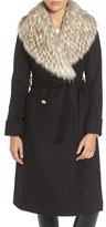 Eliza J Women's Faux Fur Collar Belted Wool Blend Long Coat