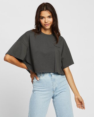 Abrand - Women's Black Cropped tops - A Cropped Oversized Tee - Size S at The Iconic