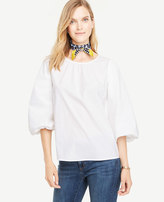 Ann Taylor Petite Poplin Balloon Sleeve Top