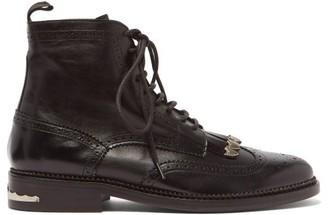 Toga Virilis Tasselled Lace-up Leather Boots - Black