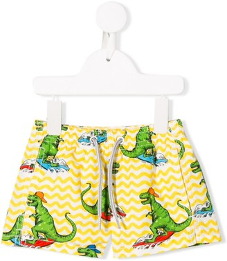 MC2 Saint Barth Kids Dino print swim shorts