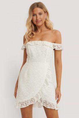 Pamela X NA-KD Recycled Off Shoulder Overlapped Lace Dress