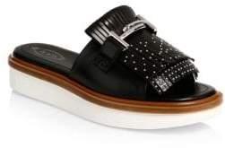 Tod's Studded Fringe Leather Platform Sandals