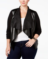 MICHAEL Michael Kors Size Faux-Leather-Front Cardigan