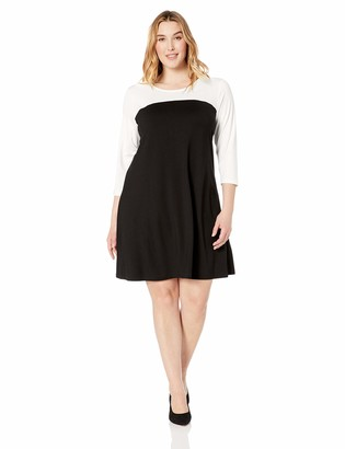 Karen Kane Women's Plus Size 3/4 Sleeve Colorblock Dress