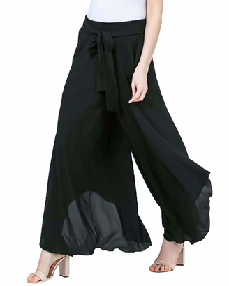 Zanzea High Quality Street Fashion Zanzea Women Wide Leg Trousers Loose Lounge Palazzo Retro Pants High Waisted Pleated Elasticated Trousers Black L