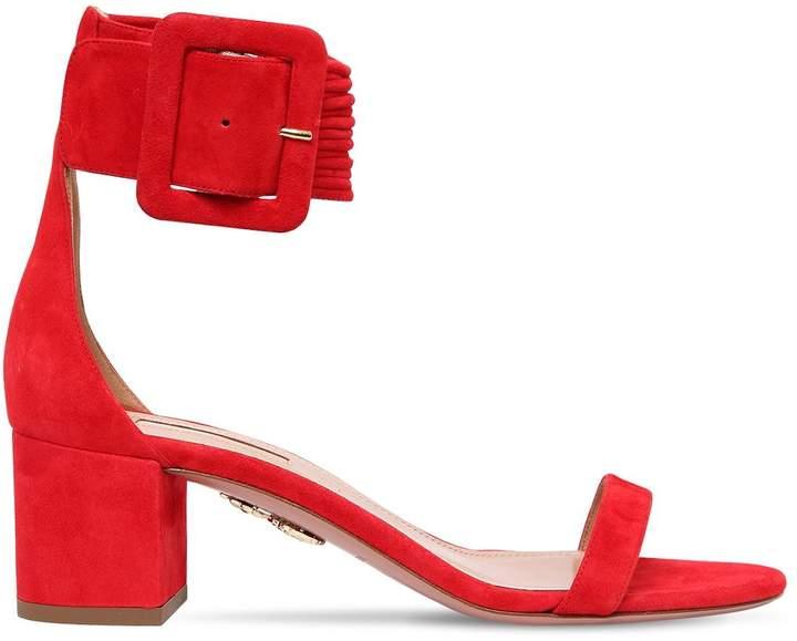 Aquazzura 50mm Casablanca Suede Sandals W/Buckle
