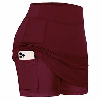 Heflashor Women Tennis Skirts Inner Shorts Elastic Sports Golf Skorts with Pockets Red