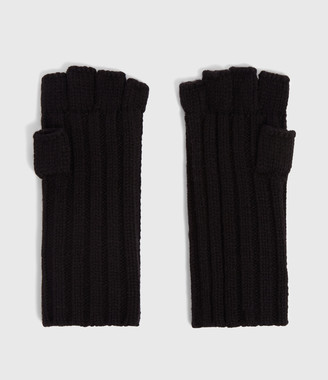 AllSaints Ribbed Cut Off Finger Wool Blend Gloves