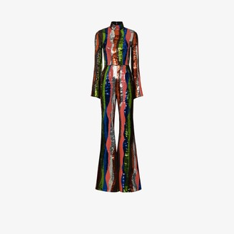 Halpern Squiggle Stripe Sequin Jumpsuit